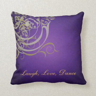 Whimsical Dance Gold Scroll Purple Mojo Pillow