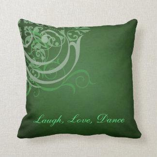 Whimsical Dance Green Scroll Green Mojo Pillow