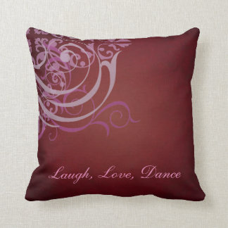 Whimsical Dance PInk Scroll Red Mojo Pillow