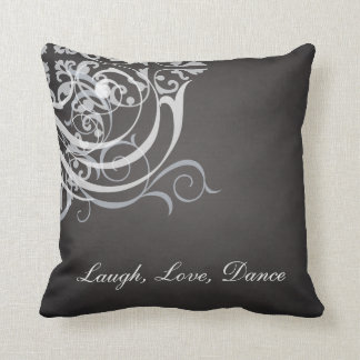 Whimsical Dance White Scroll Black Mojo Pillow