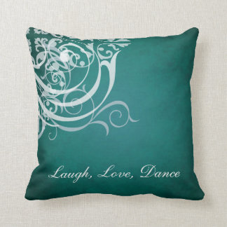 Whimsical Dance White Scroll Teal Mojo Pillow