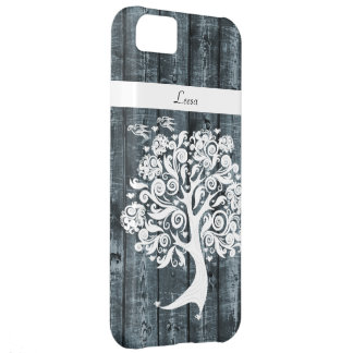 Whimsical Dancing Tree Blue Wood Personalized iPhone 5C Cases
