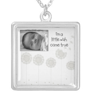 Whimsical Dandelion Seed Wish Come True Baby Photo Square Pendant Necklace