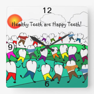 Whimsical Dental Clock Tooth People