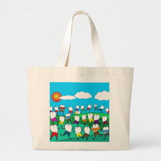 Whimsical Dental  Tooth Art Gifts Large Tote Bag