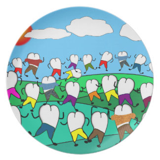 Whimsical Dental  Tooth Art Gifts Plate