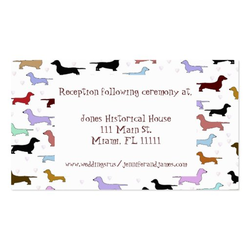 Whimsical Dog Wedding enclosure cards Business Card Template