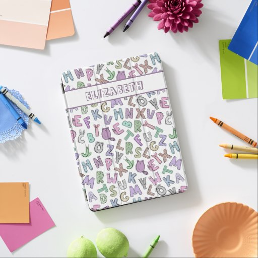 Whimsical doodle alphabet letters iPad pro cover