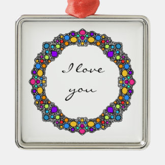 Whimsical doodle design metal ornament