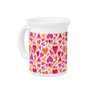 Whimsical Doodle Hearts with Patterns and Texture Drink Pitcher