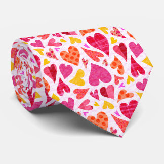 Whimsical Doodle Hearts with Patterns and Texture Tie