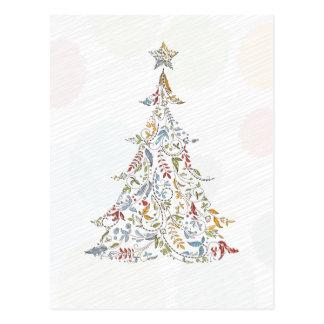 whimsical doodles christmas tree postcard