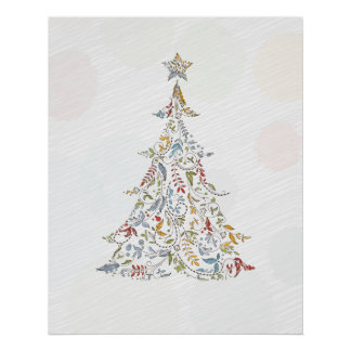 whimsical doodles christmas tree poster
