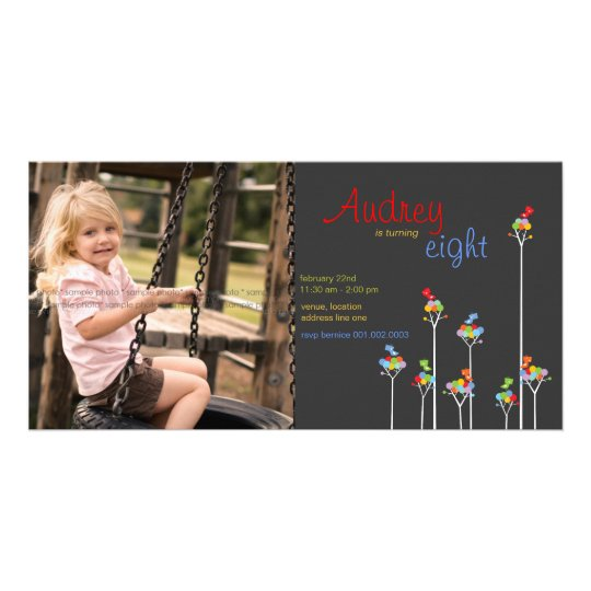 Whimsical Dot Trees Birds Kids 8th Birthday Party Card