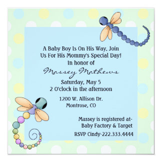 """Whimsical Dragonflies Baby Boy Shower Invitation 5.25"""" Square Invitation Card"""