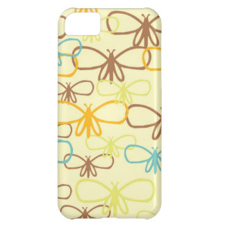 Whimsical Dragonfly Line Art Butterflies Cover For iPhone 5C