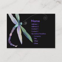 Whimsical Dragonfly on Black Business Cards