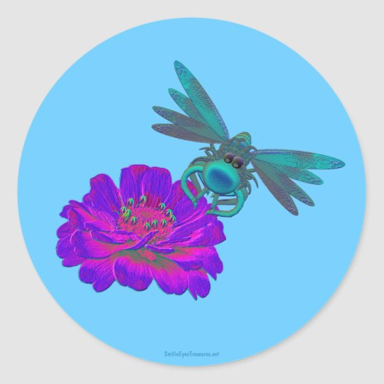 Whimsical Dragonfly On Flower Sticker Label