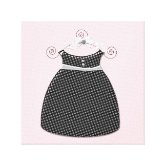 Whimsical Dress Pink and Black Baby Girl Canvas Print