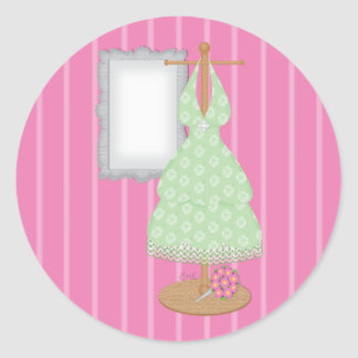 Whimsical Dress Shop Bridesmaid Sticker