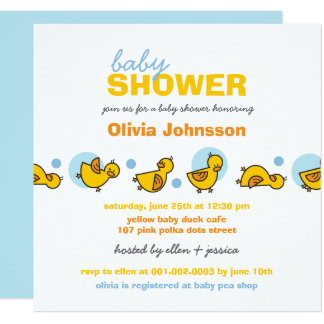 Whimsical Ducks Blue Ducks Boy Baby Shower Invite
