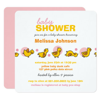 Whimsical Ducks Pink Dots Baby Girl Shower Invite