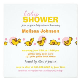 Whimsical Ducks Pink Dots Baby Girl Shower Invite