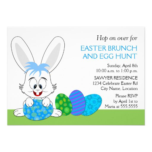Whimsical Easter Bunny and Eggs Party Invitations