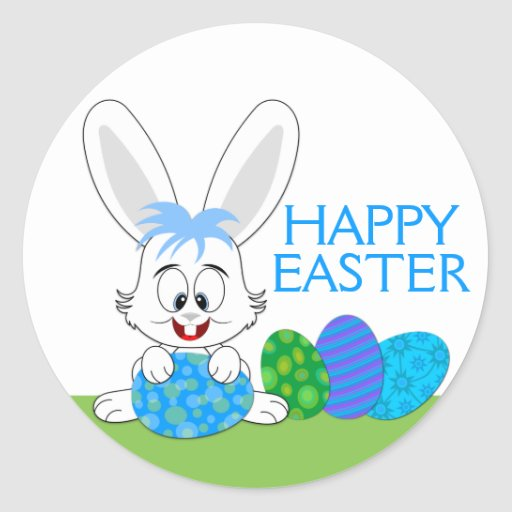 Whimsical Easter Bunny and Eggs Stickers