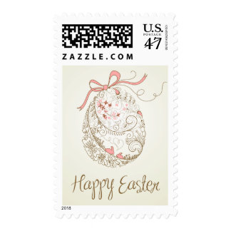 Whimsical Easter Egg | Vintage Happy Easter Stamp
