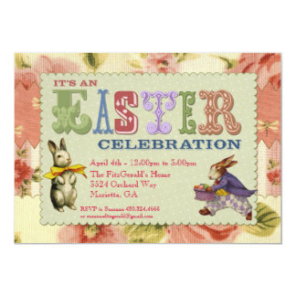 """Whimsical Easter Party Invitation 5"""" X 7"""" Invitation Card"""
