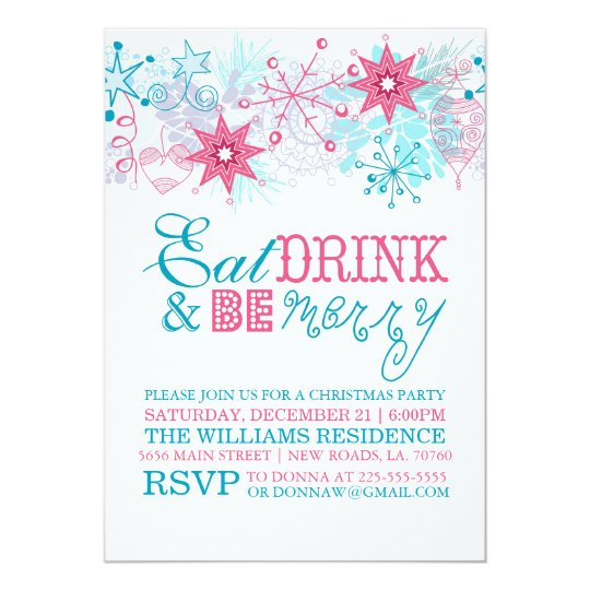 Whimsical Eat Drink and Be Merry Card
