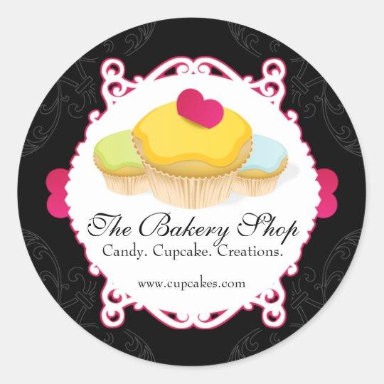 Whimsical & Elegant Cupcake Bakery Business Labels