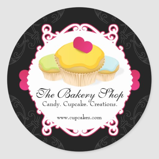 Whimsical & Elegant Cupcake Bakery Business Labels Classic Round Sticker