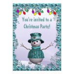 Whimsical, Elegant Snowman Blue Christmas Party Personalized Invitations