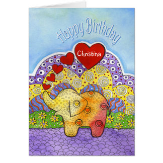 Whimsical Elephant Child's Birthday Card