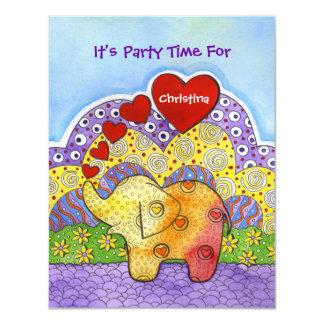 Whimsical Elephant Child's Party Invitation