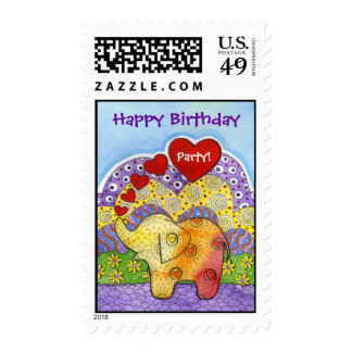 Whimsical Elephant Child's Party Postage Stamp