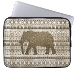 Whimsical Elephant Tribal Pattern on Wood Design Computer Sleeves