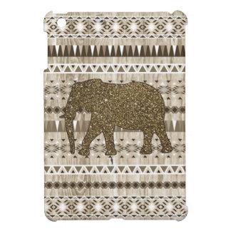Whimsical Elephant Tribal Pattern on Wood Design iPad Mini Covers