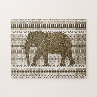 Whimsical Elephant Tribal Pattern on Wood Design Jigsaw Puzzle