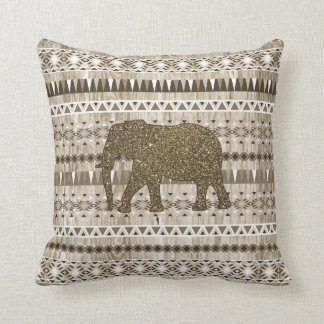 Whimsical Elephant Tribal Pattern on Wood Design Pillows