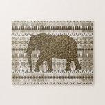 Whimsical Elephant Tribal Pattern on Wood Design Jigsaw Puzzles