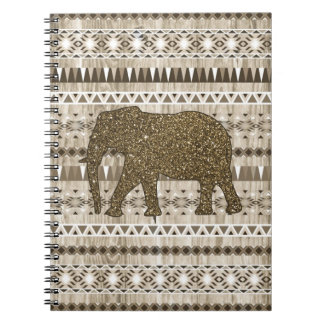 Whimsical Elephant Tribal Pattern on Wood Design Spiral Notebook