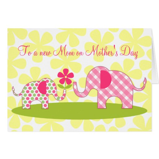 Whimsical Elephants First Mother's Day Card | Zazzle