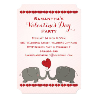 Whimsical Elephants Valentines Day Party Card