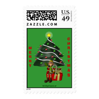 Whimsical Elf Christmas Tree Holiday Postage Stamp