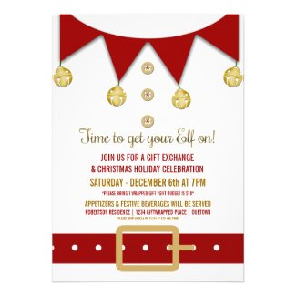 Whimsical Elf Holiday Gift Exchange Personalized Announcement