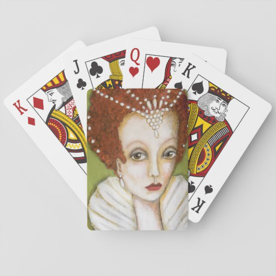 Whimsical Elizabeth I Tudor Queen Fun Artistic Playing Cards