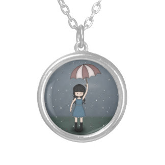 Whimsical Emo Girl Standing in the Rain Silver Plated Necklace